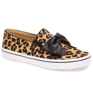 kate spade delise calf hair leopard slipon sneaker